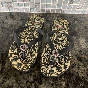 Brighton Rose Print Flip Flops